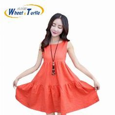 [ 25% OFF ] Cotton Sleeveless Maternity Summer Dress  Pleated Skirt Decorated Summer Dress For Pregnant Women