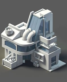 Futuristic City, Futuristic Architecture, Architecture Design, Minimalist Architecture, Futuristic Design, Isometric Art, Isometric Design, Environment Concept Art, Environment Design