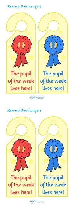 Twinkl Resources >> Pupil of The Week Reward Door Hangers  >> Thousands of printable primary teaching resources for EYFS, KS1, KS2 and beyond! reward, award, door hangers, decoration, winner, encouragement, pupil of the week