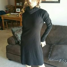 VS / Moda Int'l Sweater dress LIKE NEW Black VS (Moda Interna'l) knee length sweaterdress. Just bought this dress last fall. Excellent Condition. Washed it but never wore. Bought to wear to work and ended up leaving my job. Selling for way less than I paid so price is not negotiable. Victoria Secret / Moda International Dresses