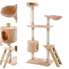 Deluxe Popular 60' Cat Tree Scratching House Kitten Furniture Activities Tower Color Type Beige *** To view further for this item, visit the image link. (This is an affiliate link and I receive a commission for the sales) #Cats