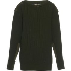 Yeezy Season 1 Military ribbed-knit wool sweater ($1,381) ❤ liked on Polyvore featuring tops, sweaters, dark green, oversized tops, military fashion, wool knit sweater, military top and adidas originals