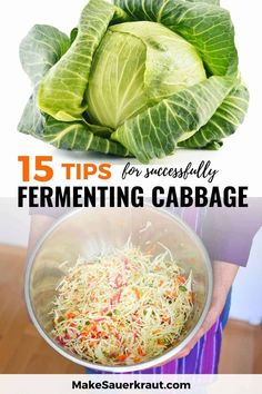 15 insider fermentation tips that will have you fearlessly fermenting flavor-rich and mold-free batches of sauerkraut rich in probiotics in no time. Best way to hold your ferments below the brine? Do you need to sanitize your equipment? A simple tool to test ferments? What is the right amount of salt? Read these 15 tips to make your homemade sauerkraut and other fermented vegetables. #fermentedfoods #guthealth Homemade Sauerkraut, Easy Sauerkraut Recipe, Fermented Sauerkraut, Fermented Foods, Fermented Cabbage, Pickled Cabbage, Cabbage Soup, Kefir Recipes, Canning Recipes