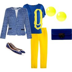 Blue and Yellow, created by nicstormon on Polyvore