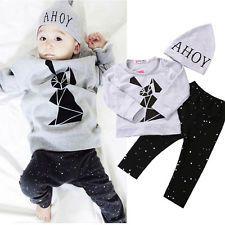 Baby Boy Girl Rabbit Pullover Tops T-shirt+Pants Leggings+Hat 3pcs Outfits Set
