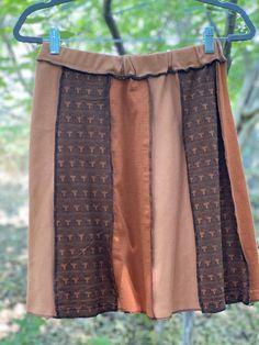 Eco Fashion,Recycled Clothing Size XL Browns Boho Upcycled Skirt