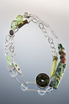 necklace - Sterling silver, jade, gaspeite, black mother of pearl by Janis Kerman Design Funky Jewelry, Unusual Jewelry, Fashion Jewelry Necklaces, Modern Jewelry, Metal Jewelry, Jewelry Art, Beaded Jewelry, Silver Jewelry, Vintage Jewelry