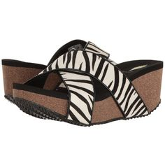 VOLATILE Blade (Black/White/Zebra) Women's Sandals ($75) ❤ liked on Polyvore featuring shoes, sandals, criss cross strap sandals, strappy platform sandals, high heel mules, high heel platform sandals and high heel mule sandals