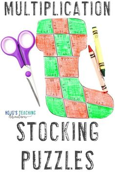 These MULTIPLICATION Christmas stocking puzzles are great for 3rd, 4th, or 5th grade upper elementary kids this December holiday season. Use them for math games, review, fast finishers, centers,