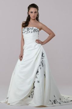 e28522bd186b6 Alexia Designs - 1155 - Available in Ivory or White with a choice of  contrasting colours. Satin sweep-over bridal gown with contrast detail and  train.