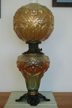 Vintage Fenton GWTW Iridescent Marygold Oil Kerosene Lamp | eBay