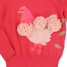 Billieblush Tulle Pompoms Hen Jumper Fuchsia - Kids fashion - Smallable