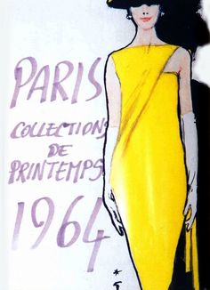 Paris, International Textiles 1964. Illustration by Rene Gruau, Reminiscent of the Style of Audrey Hepburn ~:❤
