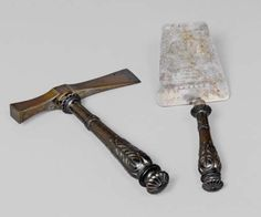 Ceremonial trowel and axe with hammer, for the building of the bridge at Niève, France, 1865. Nessi Collection, Koller auctions, 2012.