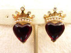 Trifari earrings gold tone rhinestone & faux pearl crown over ruby red heart S15 #Trifari
