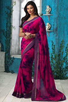 Pink Georgette Printed Saree With Blouse From Skysarees.