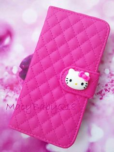 hello kitty hot pink Samsung Galaxy S7 S7Edge phone wallet w/ card compartments #HelloKitty