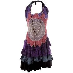 VICTIM HALTERNECK DRESS WITH SUNFLOWER MOTIF PURPLE/MULTI COTTON - ($445) ❤ liked on Polyvore featuring dresses, vestidos, casual dresses, short dress, women, halter dress, halter-neck dress, pleated dress, tiered dress and pleated mini dress