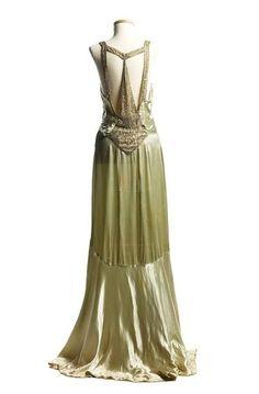 1930s Art Deco Style Satin Dress