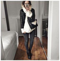 """""""Et tenue du jour : • Leather Jacket #Sezane (from @sezane) • Knit #junebrussels (from @junebrussels) • Jean #aninebing (from @cyrielleforkure) • Boots…"""""""