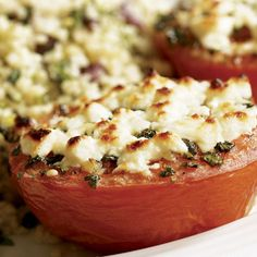 Broiled Tomatoes with Feta & Herbed Couscous - FineCooking