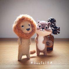 Lion and chipmunk Needle Felted, Wet Felting, Felt Diy, Felt Crafts, Plush Dolls, Doll Toys, Peluche Lion, Handmade Stuffed Animals, Plush Pattern