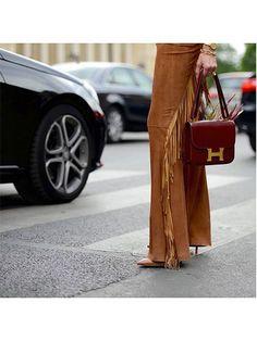 Prettiest Instagrams of the Week: fringe pants, burgundy handbag and heels   allure.com