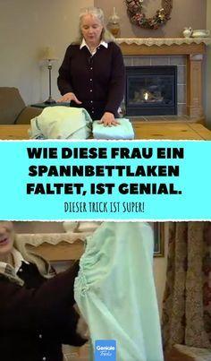 Wie diese Frau ein Spannbettlaken faltet, ist genial. #spannbettlaken #falten #trick #hack #diy #haushalt #ordnung #ordnungstricks