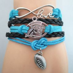 Infinity Love Carolina Panthers Football - Show off your teams colors! Cutest Love Carolina Panthers Bracelet on the Planet! Don't miss our Special Sales Event. Many teams available. www.DilyDalee.co
