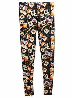 Food printed leggings: Sushi leggings at Cherie NY