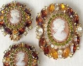 HOBE Cameo Rhinestone Brooch & Earrings Demi Parure Set - SIGNED HOBE made by D and E - Gorgeous! Great Price!