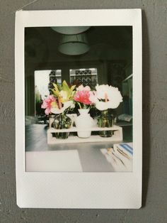 Someone gave these flowers to my mom, it's the first picture i took with my polaroid camera.