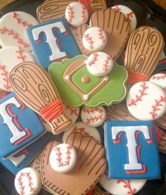 TX Rangers Baseball Cookies {Sugarbelle}