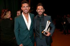 Jake Owen and Thomas Rhett at the 51st Academy of Country Music Awards at MGM Grand Garden Arena on April 3, 2016 in Las Vegas, Nevada.