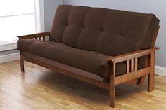 wood futon with storage and chocolate mattress