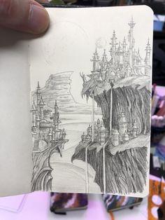 Landscape Pencil Drawings, Landscape Sketch, Fantasy Landscape, Weird Drawings, Horse Drawings, Art Drawings Sketches, Drawing Now, Painting & Drawing, Fantasy Drawings