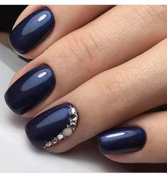 TM Transfer Decorations Multicolor Navy Blue with a glimmer of shimmer and rhinestone encrusted accent nail.Navy Blue with a glimmer of shimmer and rhinestone encrusted accent nail. Dark Blue Nails, Navy Nails, Nail Art Blue, Navy And Silver Nails, Black Nail, Blue Gel Nails, Jewel Nails, Red Nail, Pastel Nails