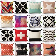Nordic Style Geometry Pattern Printed Throw Pillow case Linen Cotton Cushion Cover Creative decoration for Sofa Car covers