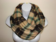 brown teal tan plaid infinity scarf flannel by OtiliaBoutique