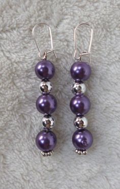 Purple and silver beaded dangle earring. by MysticalGypsies, $7.00