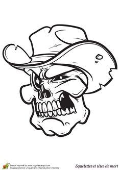 Tête de mort avec un chapeau de cowboy à colorier