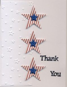 handmade card: Patriotic Thank you 1 by scootsv  ... die cut stars of red and white stripes with smaller navy blue polka dot stars on top ... one half of main panel with embossing folder stars ... clean and crisp look ... like it!