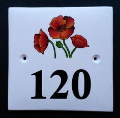 House Number Sign with Poppies Hand painted ceramic house number signs with paintings of birds, flowers, trees, animals and more. See our many picture choices on our website www.handpaintedhousesigns.co.uk