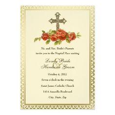 catholic cross vintage roses wedding invitation - Catholic Wedding Invitations