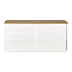 Solid oak chest of drawers in white W 160cm Austral