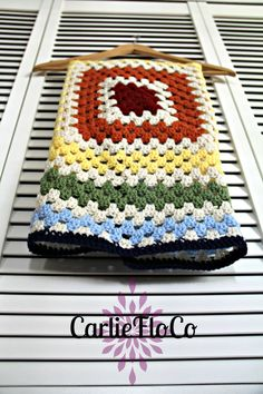 Rainbow Striped Baby Blanket Granny Square by CarlieFloCo on Etsy, $45.00