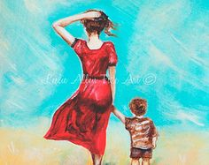 """Mother Son Child Painting Mother Little Boy Brother Sibling Toddler Beach Mom """"My Little Champ"""" Leslie Allen Fine Art Painting For Kids, Drawing For Kids, Art For Kids, Diwali Drawing, Beach Mom, Toddler Beach, Mother Pictures, Family Pictures, Mother Art"""
