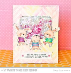 Snuggle Bunnies, Snuggle Bunnies Die-namics, Rainbow Greetings, Over the Rainbow Die-namics, Inside & Out Stitched Rounded Rectangle STAX Die-namics - Suzy Plantamura  #mftstamps