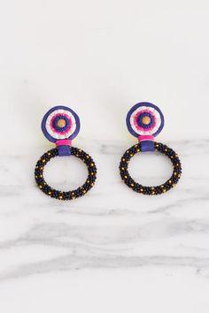 Robin Mollicone Small Beaded Hoop Earring in Black Multi   Oroboro Store   Brooklyn, New York