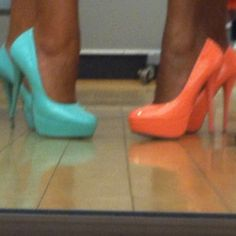 Coral and Tiffany Blue Heels... maybe cute to have bridesmaids in diff shoes for photo ops?
